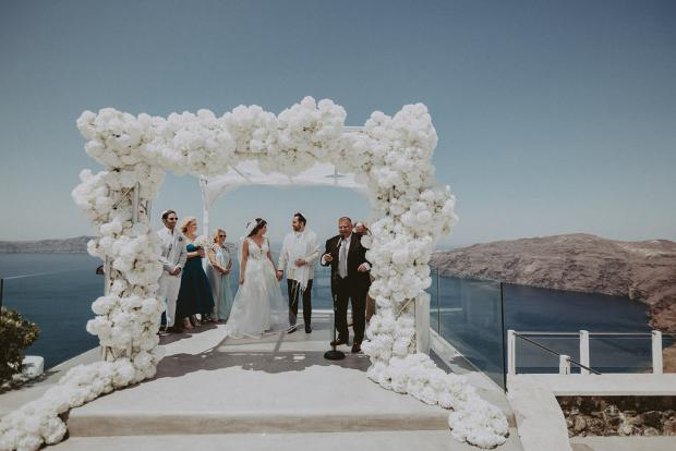All white luxury wedding in Santorini, Greece