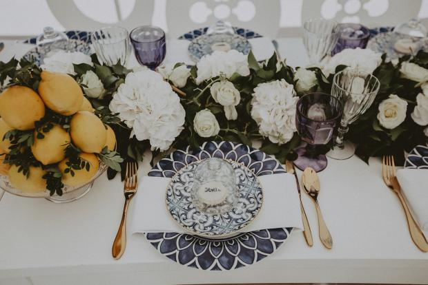 Blue tile plates and macaron place cards