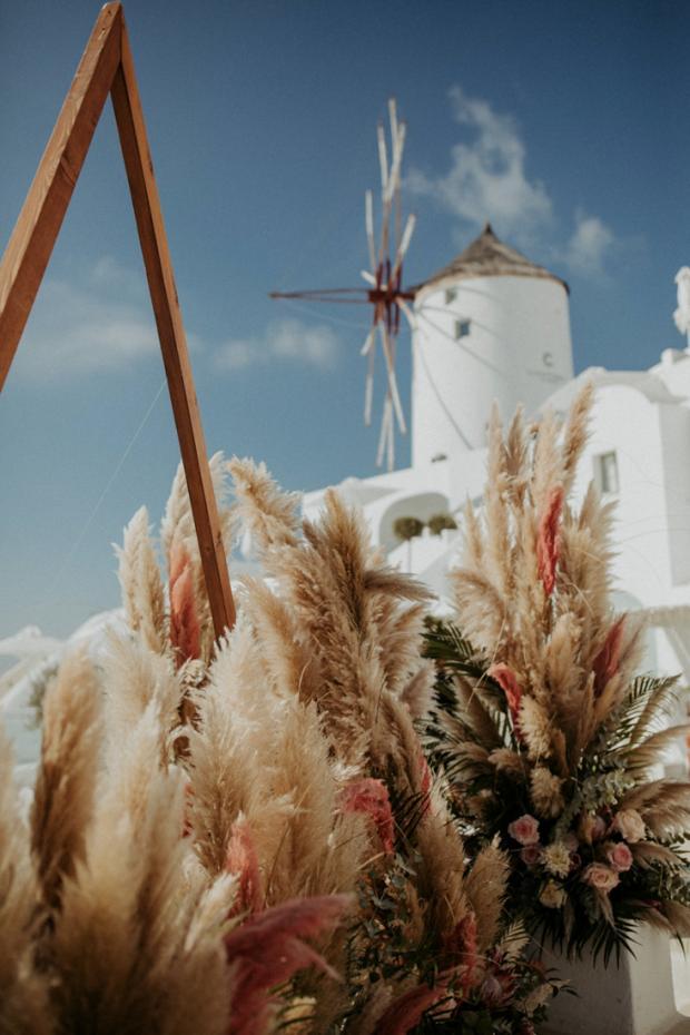 Pink pampas  grass wedding ceremony- Greece wedding
