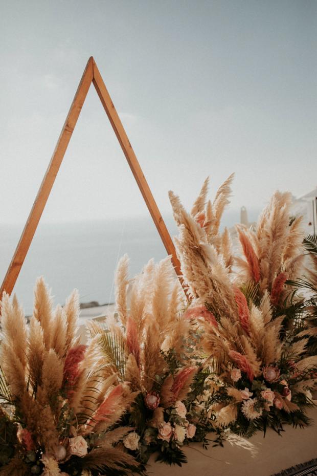 Pink pampas grass wedding ceremony-Destination wedding in Greece