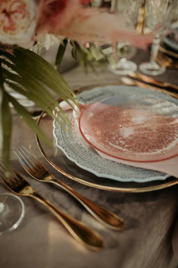 Pink tablescape details-destination wedding in Greece