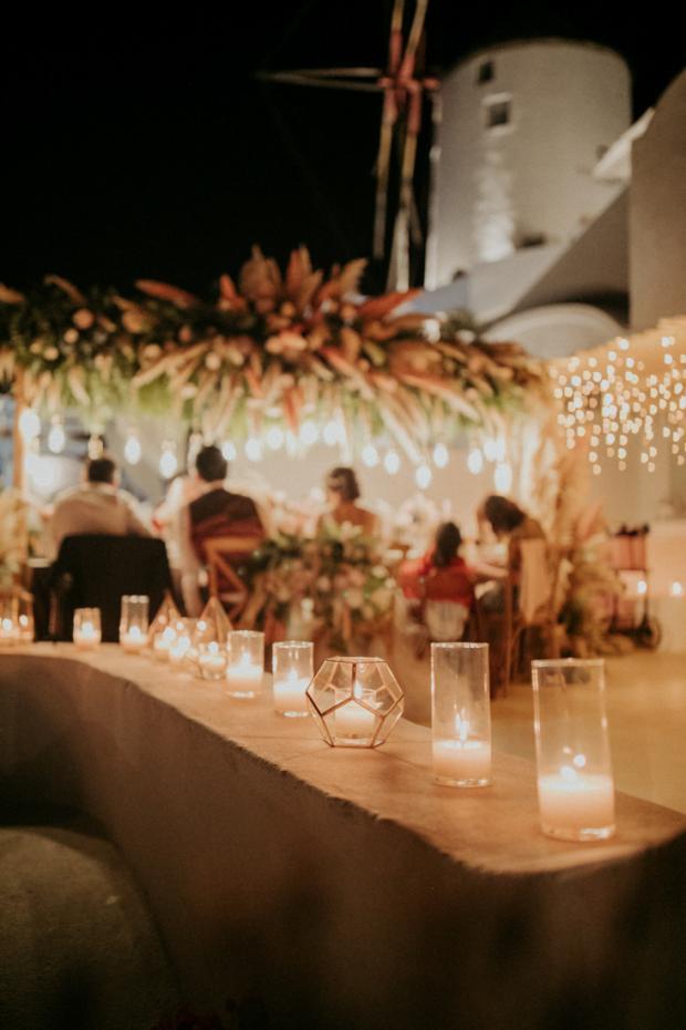 Intimate destination wedding in Greece-dinner lights