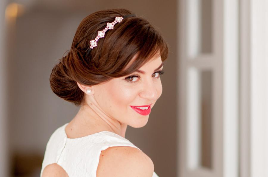 Santorini wedding- bridal hairstyle