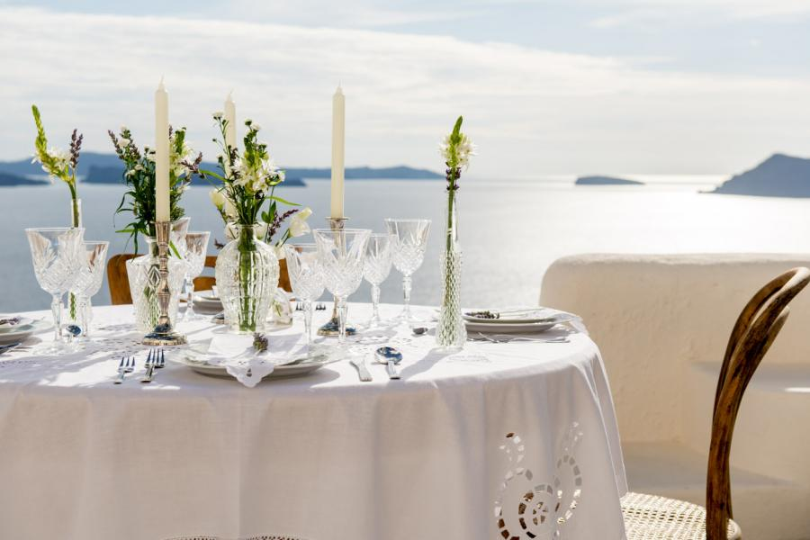 Wedding in Santorini - wedding terrace